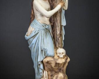 "St Mary Magdalene Statue   Saint from Magdala Figure   Vintage Polychromed Plaster   RARE Figurine   18"" Large"