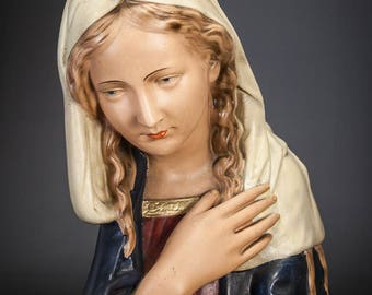 "15"" Large Antique Virgin Mary Our Lady of Sorrows Plaster Bust Vintage Statue 4"