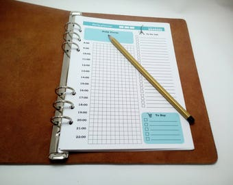 A5 Daily Planner Insert Printable, Filofax for 6 rings binders, Undated Planner, Motivation Notebook, Time schedule, Turquoise Daily Planner