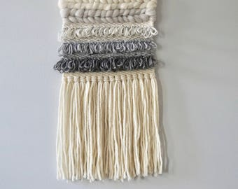 Woven Wall Hanging / Weaving / Tapestry / Wall Art / Nursery Decor / Home Decor / White, Grey, Neutral, Ombre