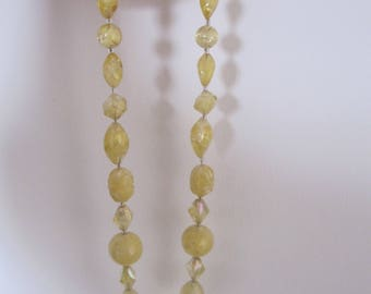 Vintage yellow faceted necklace 1940s EXCELLENT BEAUTIFUL