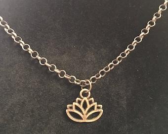 Antique Bronze Lotus Necklace