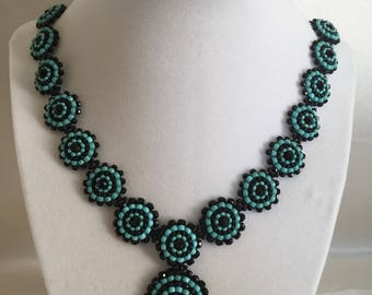 Beaded black and turquoise necklace