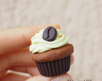 Coffee Cupcake Brooch / handmade polymer clay jewelry / Sweet brooch pin / chocolate vanilla cupcake / sweet-tooth brown yellow colors