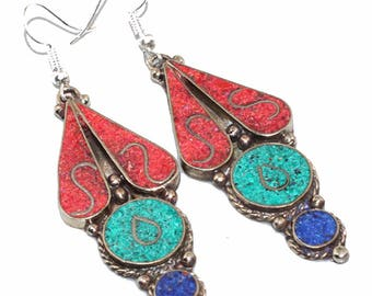 Turquoise Red Coral Lapis Lazuli Nepali Earrings 3""