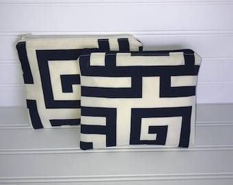 Handmade Zipper Pouch | Navy Blue & Ivory Geometric