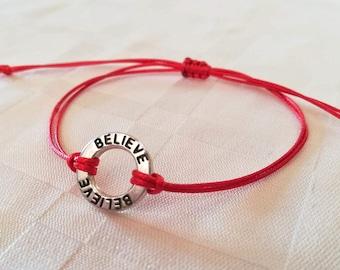 Ring Bracelet, Red String Bracelet, Friendship Bacelet, Minimalist Jewelry, Good Luck Bracelet, Zen, Thread Bracelet, Kabbalah Bracelet