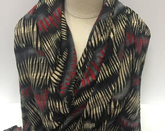 17-208 Black Red and Beige Crinkle Knit - Sold by the Yard