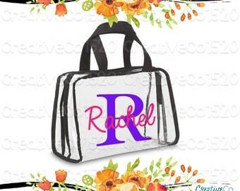 Custom Clear Cosmetic Bag | Custom Makeup Bag | Clear Makeup Bag Wedding | Bridesmaid Gift | Gift Idea | Clear Clutch | Clear Cosmetic Bag