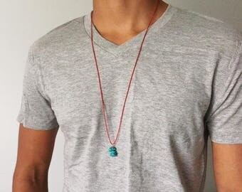 Turquoise Necklace Mens Turquoise Jewelry Long Necklace Beaded Necklace Red String Necklace Red String Jewelry Protection Necklace Turquoise