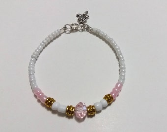 Bracelet Pink beaded crystal bracelet bracelet rose white beads gift for her
