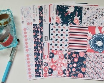 Navy Floral - Big Happy Planner Weekly Kit