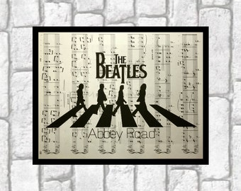 THE BEATLES Wall Art Abbey Road Print Vintage Music Book Dictionary Paper Art Print print art on 8x10 upcycled dictionary page