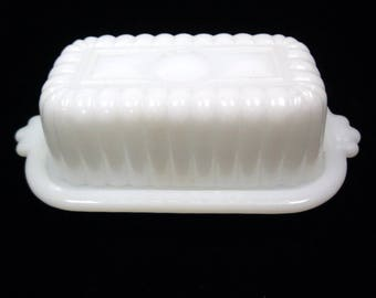White Milk Glass Rib Panel Covered Butter Dish