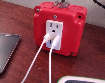Desktop charging station-Apple Red-phone and tablet charger-usb and outlet