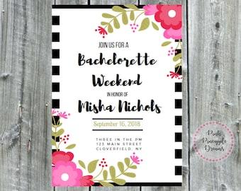 Bridal Shower - Bachelorette Invitation - Black, White & Pink
