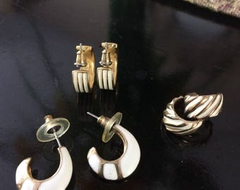 1970's White Enamal With Gold Lot of 3