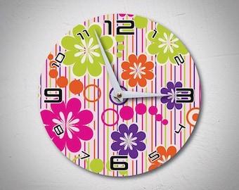 Vintage Wall Clock, Retro Wall Clock, Flowers Clock, Wooden Clock, Unique  Wall