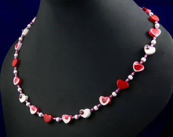 Mother's Day heart necklace with Swarovski crystals.  Heart necklace.