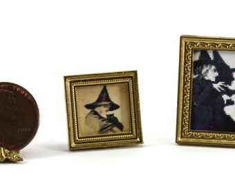 Dollhouse Miniature Set of 2 Framed Witch Pictures