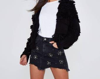 Black gem embellished frayed hem denim skirt