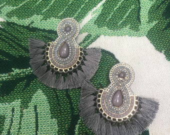 Grey, Gray Beaded Disk Tassel Earrings, Gray Tassel Earrings, Fringe Tassel Earrings, Jewel and Fringe Earrings