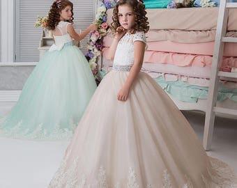 Blush Flower Girl Dress • Mint Flower Girl Dress • Pink Flower Girl Dress • Birthday • Girls party dresses • Princess Dress •Toddler dress