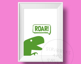 ROAR- nursery print - nursery art - kids room wall art - Children's wall art - dinosaur wall art