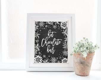 Hot chocolate bar sign, winter onederland first birthday party, snowflakes winter baby shower, chalkboard, bridal shower, instant download