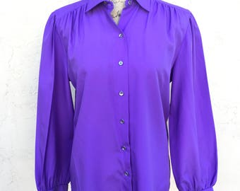 Vintage 70s 80s Judy Bond Blouse/ 80s Secretary Blouse/ Bright Purple Blouse/ Vintage Blouse/ 80s Shirt/70s Blouse/ Jonquil By Judy Bond