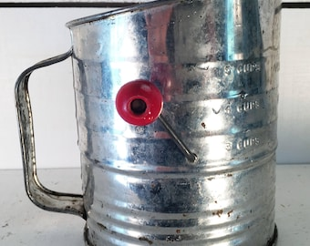 Vintage Stainless Steel Flour Sifter with Red Wooden Handle/Farmhouse Kitchen Old Flour Sifter/Shabby Chic Kitchen Flour Sifter/Kitchen Tool