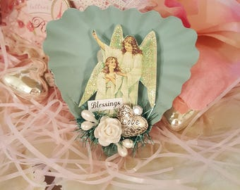 "Romantic ""Blessings"" Dessert Tin Magnet - Sea Foam Green"