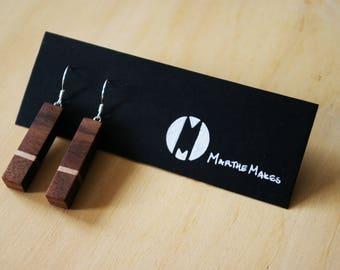 White Strip Wooden Earring Pair, Walnut & Maple Slim Rectangle