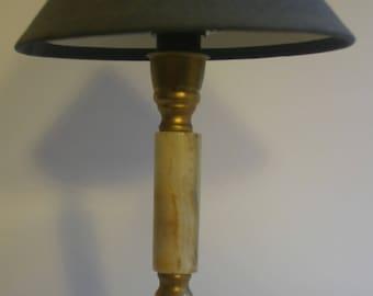 Marble Lamp  -  greenish marble - vintage
