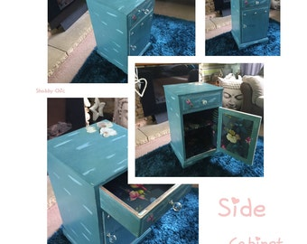 Shabby Floral Blue Side Table