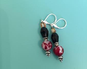 Dangle Earrings / Silver Earrings / Red Earrings / Drop Earrings / Women's Gift / Boho Earrings / Art Deco Earrings / Statement Earrings