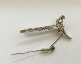 Antique Silver Sword Brooch
