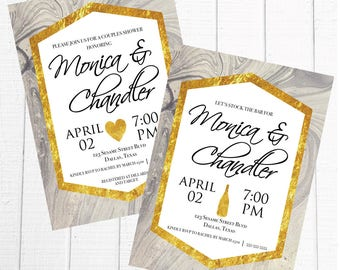 Marble Stock the Bar Couples Invitation