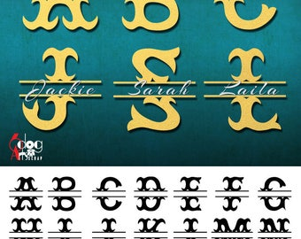 Split Mermaid Fish Tail Alphabet SVG DXF Cut Files Monogram Font Cuttable Letters Vinyl Iron On Heat Press Transfer Silhouette Cricut JB-817