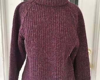 Vintage 80's Purple Sweater-Slouchy-Cowl