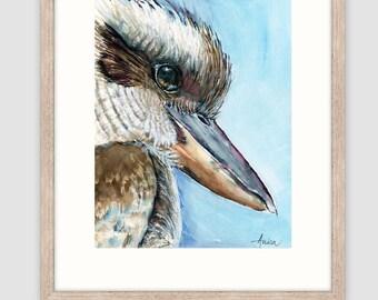 "Kookaburra print of original watercolour painting, A3 mounted to fit 16""x20"" frame, australian bird art print, wildlife print, modern"
