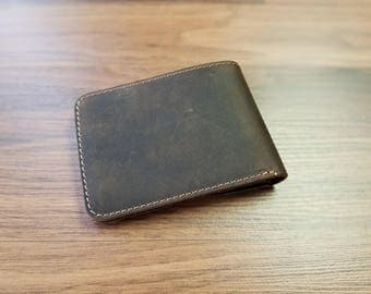 Personalized Bifold Leather Wallet, Unisex Wallet, Minimalist Leather Wallet, Slim Leather Wallet, Distressed Leather Wallet