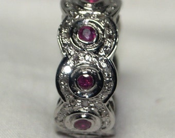 Victorian-style antique finish 1.50ctw rose cut diamond, natural ruby silver ring cigar band - 2651710