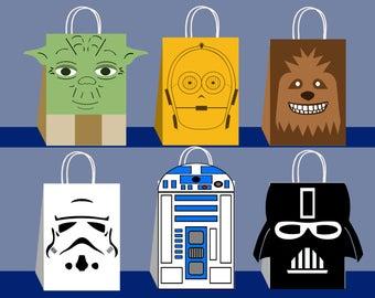 Star Wars Favor Bags, Star Wars Party Bags Printable, Star Wars DIY Gift Bag, Star Wars Birthday Printable, Star Wars DIY Favor Bag Template