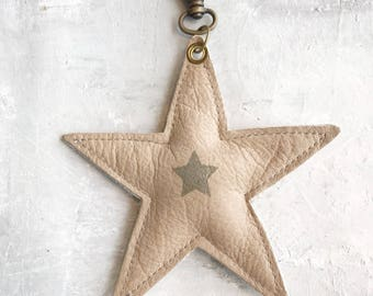 Leather bag charm star