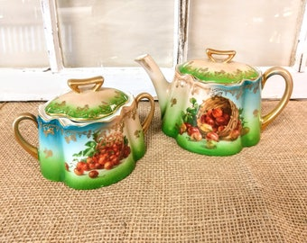 Vintage Royal Munich Bavarian Z.S. & Co. Teapot and Sugar Bowl with Gooseberries