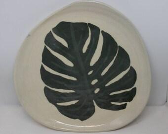 Organic Monstera Plate, Organic shaped plate