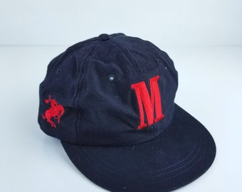 Vintage Marlboro Rodeo Big M  Black Red Strapaback Hats Caps Horse Spell Out Adjustable Tabacco Cigarretes Brand