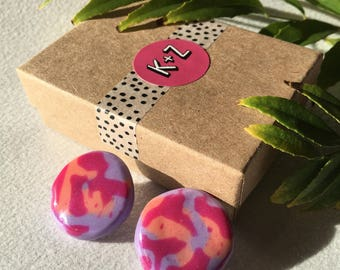 Purple Pink & Orange, Fun Bright Resin Earrings