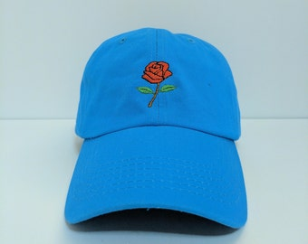 RED ROSE Embroidered Unstructured 100% Cotton Polo Adjustable Baseball Dad Hat